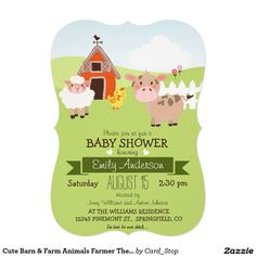 Cute Barn & Farm Animals Farmer Theme Baby Shower 5x7 Paper Invitation Card