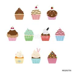Wektor: Sweet cupcake with different topping