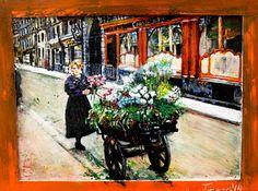 Las flores de Cecilie, obra realizada con acrílicos sobre tabla. Estudio de Paris 1930.