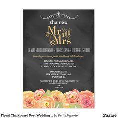 Floral Chalkboard Post Wedding Party Invitation