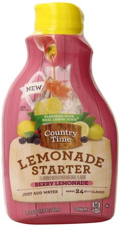 Country Time Berry Lemonade Liquid Starter Drink Mix, 2 bottles, 18.2 oz each, makes 12 quarts. Easy to pack. Take it with you and keep it handy. Your kids will love it!