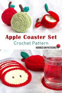 Apple Coaster Set Crochet Pattern by Hooked On Patterns Sliced apple coasters in an apple shaped storage holder CrochetPatterns Crochet Coasters homedecor Crochet Kitchen, Crochet Home, Crochet Crafts, Yarn Crafts, Free Crochet, Knit Crochet, Diy Kitchen, Crochet Cup Cozy, Doilies Crochet