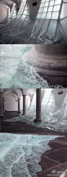 glass water... Windows that look like water is coming through... Awesome.......need this in my 'creative space'