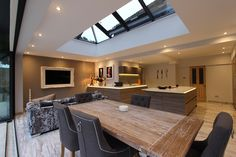 Image result for dining room orangery with bifold doors Rear Extension, Extension Ideas, House Extensions, Kitchen Extensions, Open Plan Living, New Homes, Dining Room, Doors, Interior Design