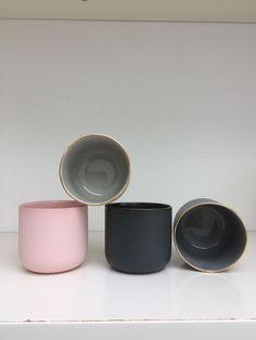 Nordic and co Scandinavian Danish handmade gold rimmed ceramic espresso cups, Slate grey, French grey, light grey, pink Espresso Cups, Handmade Ceramic, Ceramics, Deco, Tableware, Pink, Flowers, Ceramica, Handmade Pottery