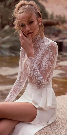 36 Lace Wedding Dresses That You Will Absolutely Love ❤ lace wedding dresses sheath high slit high neckline long sleeves yakiravid bridal ❤ See more: http://www.weddingforward.com/lace-wedding-dresses/ #weddingforward #wedding #bride