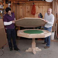 men assembling poker table