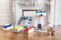 Objects and home accessories by Hartô  box Louisette, Cushions Moogli & Octave, candle holder Jacques, stool Gustave...