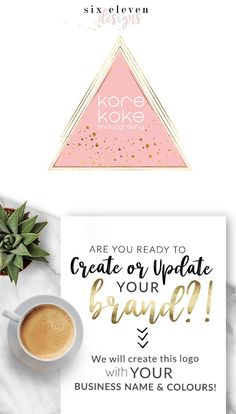 SIX ELEVEN DESIGNS - Premade Logos on Etsy - Modern Branding Solutions for your business - Logos for your business, boutique or blog. Blogger header, Blog Header and social media. Photography Logos, Business Logos, Boutique Logos, Shop Logos, Brand Logos. Pink. geometric, gold, triangle