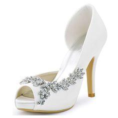 ElegantPark EP11045-IP Peep Toe Bows Rhinestones High Heels Platform... ($43) ❤ liked on Polyvore featuring shoes, pumps, rhinestone pumps, rhinestone shoes, platform shoes, satin pumps and bow pumps