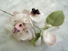 Vintage silk flower cluster on wire stems 1950s Japan