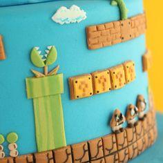Super Mario Bros. Cake | Cakecrumbs Mario Bros Cake, Super Mario Cake, Super Mario Birthday, Mario Birthday Party, Boy Birthday, Mario Party, Mario Bros., Super Mario Brothers, Super Mario Bros
