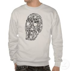 Vintage Hockey Goalie Mask Typography Art Sweatshirt, on Zazzle
