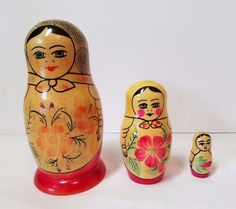 Vintage Wood Russian Matryoshka Nesting Dolls 3 Piece Set Wooden Hand Painted #Unbranded