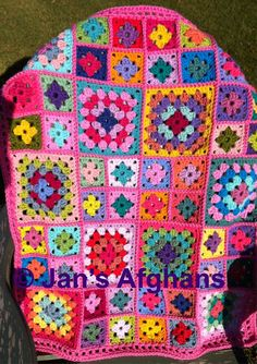 Kaleidoscope crocheted granny square BABY afghan by JansAfghans
