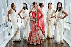 cream bridesmaid sari's!
