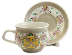 $22.00 Byzantium Cup and Saucer Set from the Ceramic Workshop of St. Elisabeth Convent - To learn more: http://catalog.obitel-minsk.com/ceramics-workshop Worldwide Delivery - #CatalogOfGoodDeeds #pottery #ceramic #handmade #order #purchase #buy #gift #souvenir #present #cup #mug #sauser #plate #teaset