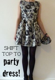 So You Think You're Crafty: Thrift Store Top to Party Dress Tutorial - this transformation is incredible!