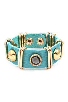 Turquoise Leather Sadie Bracelet.