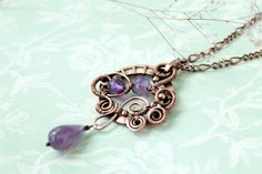 Copper pendant  Wire wrap pendant  wire wrap by LenaSinelnikArt,