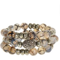HIPCHIK COUTURE Bonnie Agate Bead Bracelet Trio ($150) ❤ liked on Polyvore featuring jewelry, bracelets, accessories, bangles, tan, peace sign charms, beading charms, beaded bangles, bracelets bangle and boho jewelry