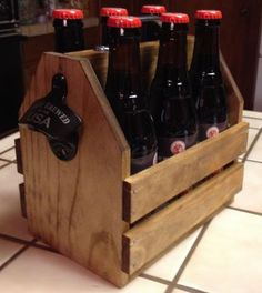 6-Pack Carrier.  Cool gift idea for guy friends and family (and gals too).  Love it.  Maybe add a little holder under the bottle top opener to hold the caps