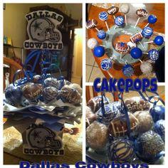 Dallas cowboys cake pop arrangements Blue, white, silver sugar crystals and footballs