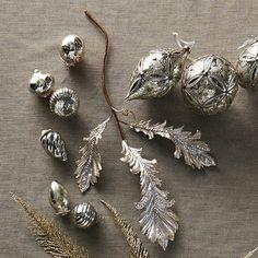 Set of Six Silver Mini Antique Ornaments