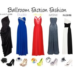 5 outfits for each faction of the book Divergent, each being a ballroom gown or the like, for any super formal occasions. Divergent Outfits, Divergent Fashion, Divergent Fandom, Fandom Outfits, Divergent Series, Divergent Party, Movie Inspired Outfits, Disney Inspired Fashion, Disney Fashion