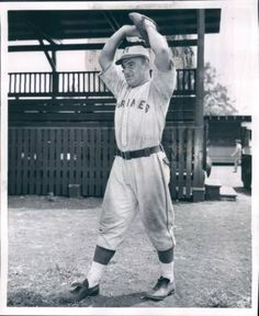"""Untied States Marine Corps Baseball -   """"Boots Poffenberger"""" wearing the Marine Corps Baseball Uniform. Cletus Elwood """"Boots""""   Poffenberger (July 1, 1915 - September 1, 1999) was a Major League Baseball pitcher for the Detroit Tigers (1937–1939) and   Brooklyn Dodgers (1939). He joined the Marines and served in the South Pacific during World War II. His   photograph was used on Marine recruiting posters during the war. He returned to baseball in 1946 playing a final season for San Diego…"""