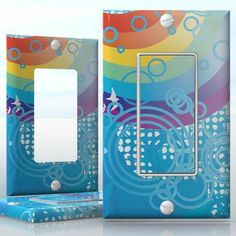 DIY Do It Yourself Home Decor - Easy to apply wall plate wraps | Crossing the Rainbow  White birds around a colorful rainbow and bubbles  wallplate skin sticker for 1 Gang Decora LightSwitch | On SALE now only $3.95