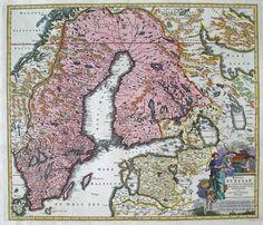 Scandinavia Sweden-Finland by Johann Baptist Homann i Nürnberg ca 1720