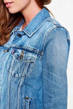 veste en jean levi-s boyfriend trucker bleu delave femme veste et manteau jeans…