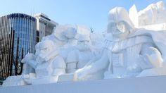 I personaggi di Star Wars scolpiti in una gigantesca scultura di neve