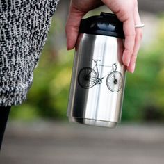 Our 8oz Bike stainless steel tumbler.