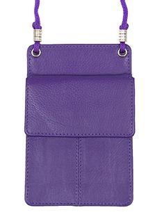 Leather Purple ID Lanyard