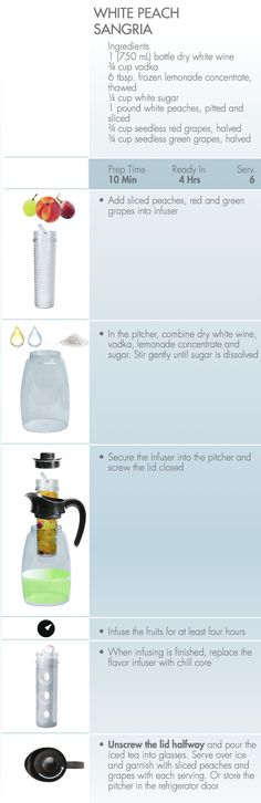 Perfect for entertaining, White Peach Sangria prepared with Primula Flavor It Flavor Infuser
