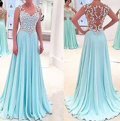The See through prom dress dress are fully lined, 8 bones in the bodice, chest pad in the bust, lace up back or zipper back are all available, total 126 colors are available. This dress could be custom made, there are no extra cost to do custom size and color.  Description  1, Material: chiff...