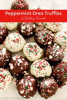 Peppermint Oreo Truffles are a true holiday favorite. This #easy recipe  only requires 4 ingredients with little time and effort, and you can  make them extra festive by garnishing them with crushed peppermint or  colorful sprinkles. These are perfect to make for any holiday gathering  or party! #easyrecipe #oreo #truffles #nobakerecipe #holidays  #peppermint #chocolate