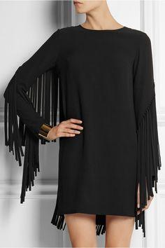 DKNY Fringed crepe mini dress