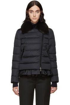 Moncler - Black Down & Fur Chenonceau Jacket