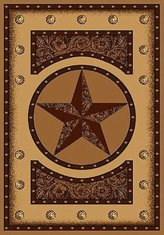 Tooled Star Rug – is a rug that has a great western look. The rug is hand sculpted and features a western star that has a tooled leather look and is encircled with studs. The rug is accented with areas of tooled leather design and more studs to create a rich looking, well deigned rug for the ranch home.