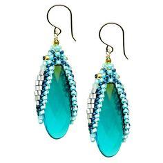 "Miguel Ases apatite hydro-quartz drop earrings, E32308  2.25"""