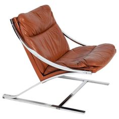 "Paul Tuttle ""Zeta"" Lounge Chair in Chrome and Cognac Leather 