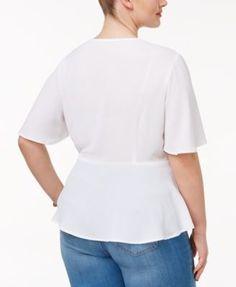 Monteau Trendy Plus Size Faux-Wrap Blouse - Purple 1X