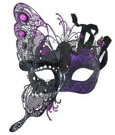 Venetian Mask with Butterfly & Purple Crystals Halloween next year? Masquerade Theme, Masquerade Wedding, Masquerade Ball, Butterfly Costume, Butterfly Mask, Trendy Halloween, Halloween 2018, Mardi Gras Costumes, Lace Mask