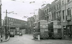 Old Street junction with Kingsland Road, Shoreditch Hackney 1960 Vintage London, Old London, Kingsland Road, East End London, Bethnal Green, Old Photos, Vintage Photos, London History, London Bus