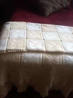 Crochet motifs - Bedspread. I actually made this back in 1983, when I was pregnant and due to complications I had to stay in bed. So .. I made a bedspread! Took me 3 months. I made an interchange of white and ecru squares that I joined together. It looks beautiful even now, after almost 30 years. :) - No pattern available but you can copy from the picture.