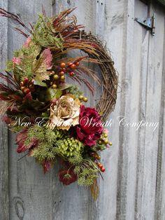 Fall Wreath Autumn Wreaths Thanksgiving by NewEnglandWreath