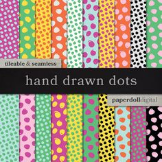 """This pack includes 20 tileable, seamless hand drawn polka dot patterns with an 80s retro feel.  ------  This listing is for a digital only download of 20 high quality (12""""x12"""", 300 dpi JPEG) digital papers delivered as four (5) zip files.  PERSONAL USE Do not sell, share or redistribute digital files. Do not claim digital files as your own. Print and reuse as many times as you would like.  SMALL COMMERCIAL USE You may use the files in your own digital products (cards, invitations, flyers…"""